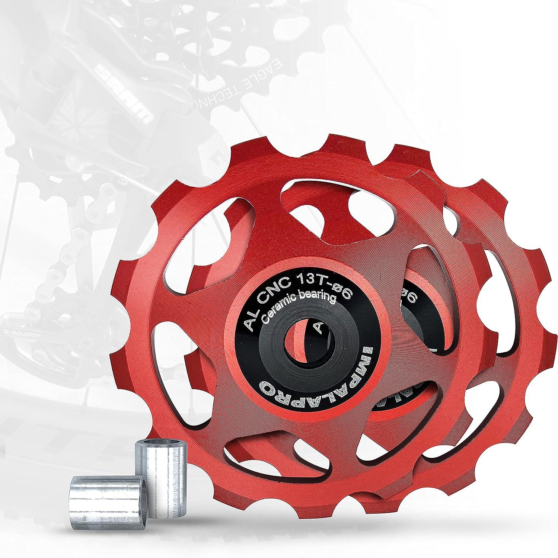 IMPALAPRO Bike Set 2 Roldanas Ceramicas 13T Desviador Trasero Bicicleta - Rueda Jockey Cambio Trasero - Roldanas 13T - Polea Bicicleta - Jockey Wheel - Rodamiento Cerámica - Roldanas MTB