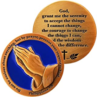 Serenity Prayer and Do Not Be Anxious About Anything, Antique Gold Plated Challenge Coin, Philippians 4:6 Gift
