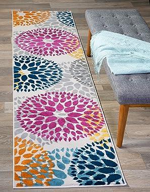 "Modern Floral Circles Design Runner Rug 2' x 7' 2"" Multi"