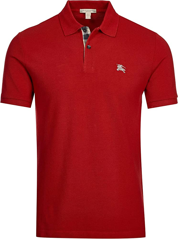 Burberry brit poloshirt, regency rosso militare, maglietta da uomo a maniche corte, 100% cotone 3459135