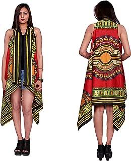 Handicraft-Palace Women's Dashiki Floral Printed Cardigan Kimono Bikini Cotton African Print Shrugs Jacket Top (CDK-3, Red, XL)