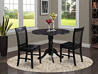 DLNO3-BLK-W 3 Pc small Kitchen Table and Chairs set-Kitchen Table plus 2 dinette Chairs