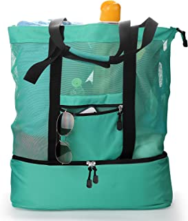 Topfox Mesh Beach Bag,2-in-1 Multi-functional Outdoor Travel Beach Bags and Totes for Women,Cooler Bags Insulated for Picnic