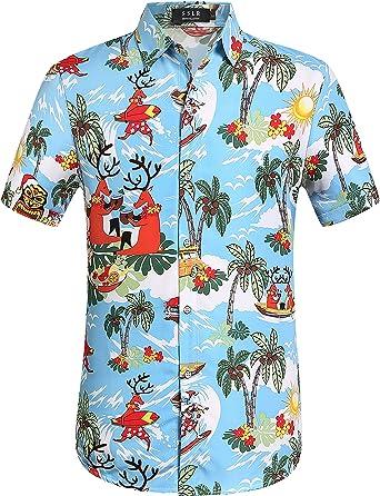 SSLR Camisa Playera Estilo Hawaiana Tropical Estampado Navideño Manga Corta para Hombre