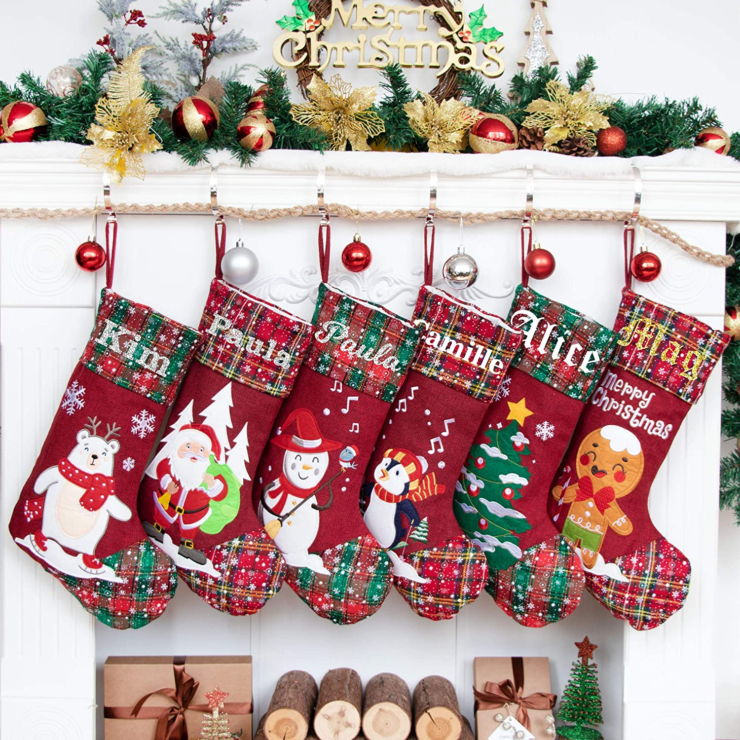 LUBOT 2 Pack Deluxe Super Special SALE held Personalized 22inch Embroidere Stockings Christmas