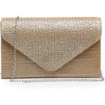 DASEIN Womens Evening Bag Glitter Frosted Clutch Wedding Handbag Purse w//Crossbody Chain Strap