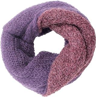 CG - Talento Fiorentino, scaldacollo tubolare lavorato a maglia, invernale, sciarpa ad anello intrecciato a due colori Vio...