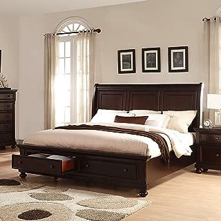 Roundhill Furniture Brishland Solid Bed Room Set, Rustic Cherry