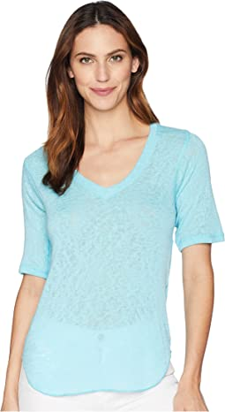 Elbow Sleeve V-Neck Top