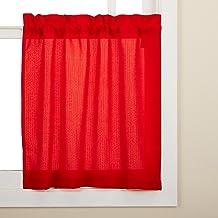 ستارة نافذة من Lorraine Home Fashions Ribcord مقاس 137.16 سم × 24 بوصة، أحمر