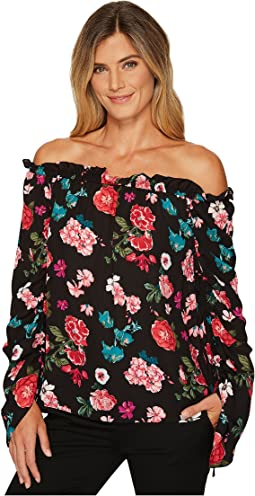Vince Camuto - Off Shoulder Floral Heirloom Ruched Sleeve Blouse