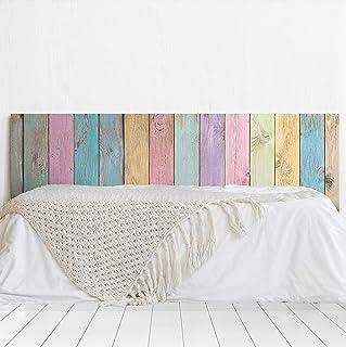 MEGADECOR Cabecero Cama PVC Decorativo Económico Textura Madera Tablas Verticales de Colores Envejecida Varias Medidas (150 cm x 60 cm)