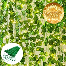 Giftale 168 Feet 24 Strands Artificial Ivy Leaf Plants Hanging Vine with 200 LED 66 Feet String Lights and 100 Green Zip T...