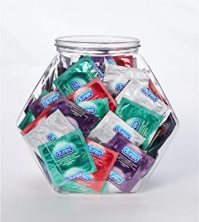 Condoms, Natural Latex, Durex Condom Bulk Variety Fish Bowl 144 Count, Extra Lubricated, Ultra Fine, Dotted, and Large Mal...