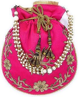 ADORA FASHION INDIAN HANDMADE POTLI/POUCH/CLUTCH BAG FOR WOMEN ADORA ACI 104 PINK