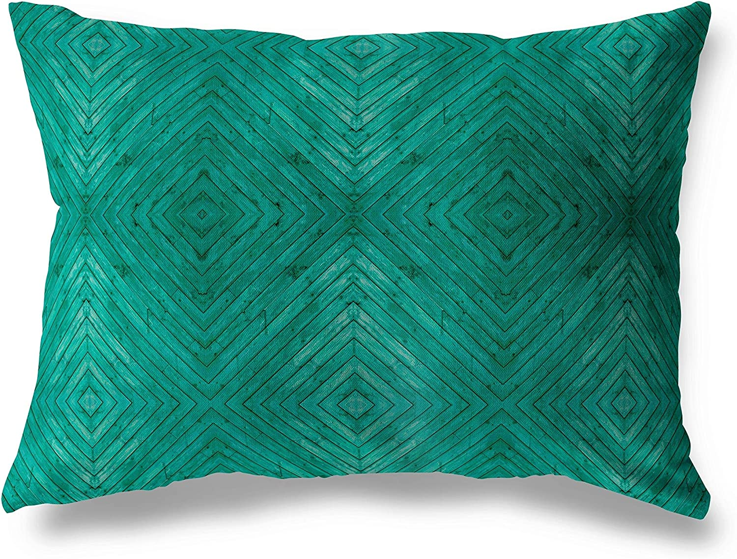 MISC Turquoise Wood Large special price Lumbar Pillow Excellence Geometric Blue Po Transitional