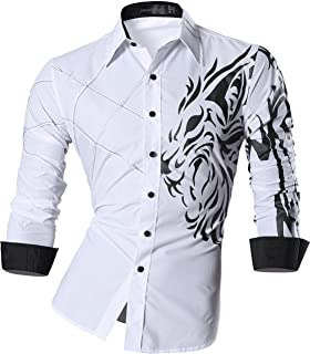jeansian Men`s Slim Fit Long Sleeves Casual Fashion Shirts 2028