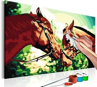 murando Pintura por Números Cuadros de Colorear por Números Kit para Pintar en Lienzo con Marco DIY Bricolaje Adultos Niños Decoracion de Pared Regalos - Caballos 60x40 cm - DIY n-A-0188-d-a