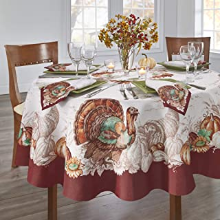"""Elrene Home Fashions Holiday Turkey Bordered Fall Tablecloth, 70"""" Round, Multi"""