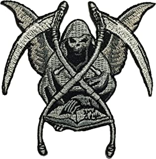 Papapatch Grim Reaper God Of Death Evil Book Scythe Motorcycle Biker Costume Sew on Iron on Embroidered Patch (IRON-GRIM-B...