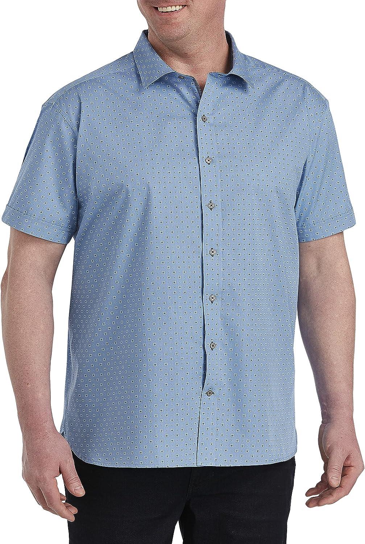 DXL Twenty-Eight Degrees Big and Tall Geo Print Sport Shirt, Blue