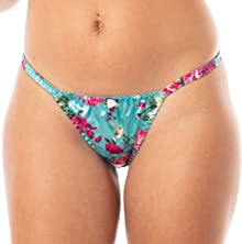 Satini Women's Print Tanga Bikini Briefs Satin Panties