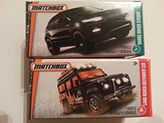 Matchbox set of 2 LAND/RANGE ROVER cars: Land Rover Defender 110 and Range Rover Evoque!! In collector's boxes!
