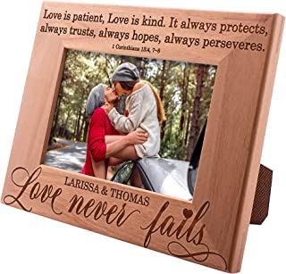Personalized Picture Frames 4x6, 5x7, 8x10 - Love Never Fails- Personalized Romantic, Wedding Photo Frame, Engagement, Valentine's Day, Wedding Gifts for The Couple