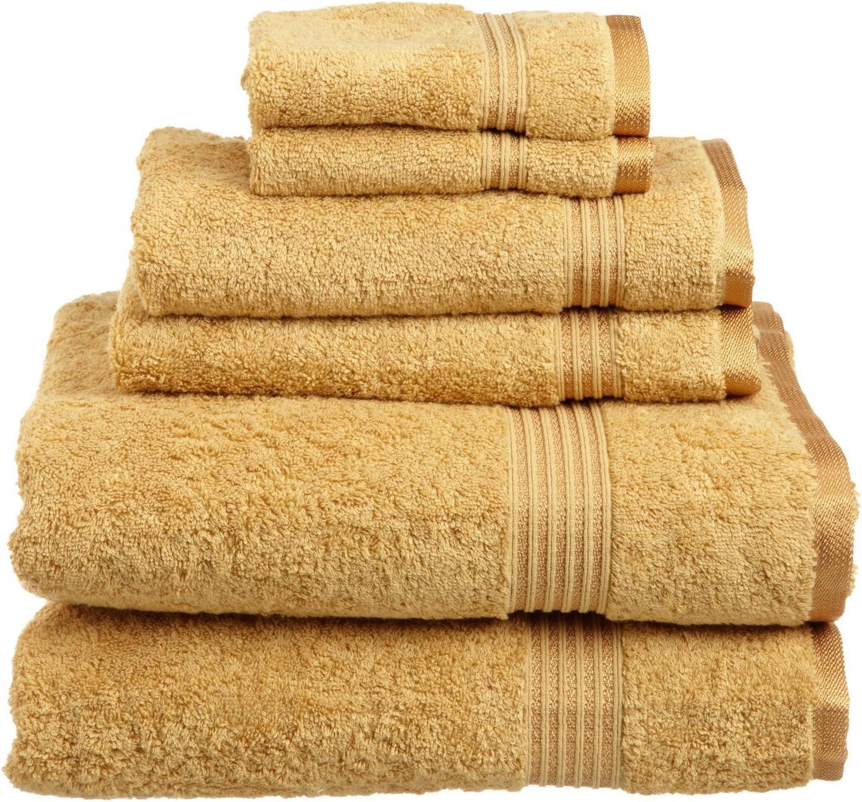 SUPERIOR Luxury Cotton Bath Towel Set - 6-Piece Towel Set, 600 GSM, Long-Staple Combed Cotton Towels, Gold: Home & Kitchen