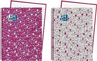 Oxford Floral - Pack de 5 cuadernos en espiral, tapa extradura, A4+