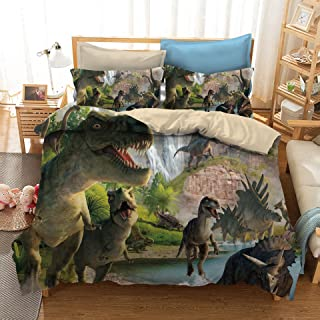 ADASMILE A & S 3D Dinosaur Bedding Sets Powerful Dinosaur Battle 3 Piece Comforter Cover Set Unique Dinosaur Quilt Bedding...