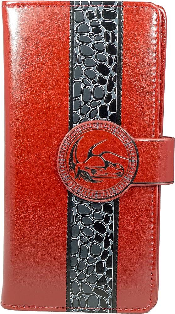 Shagwear portafoglio da donna porta carte di credito in pelle sintetica Rosso/ Wild Horses