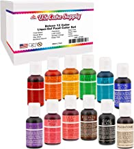 U.S. Cake Supply 12 Color Cake Food Coloring Liqua-Gel Decorating Set - .75 fl. Oz. (20ml) Bottles Primary Colors
