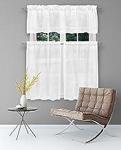Home Maison - مجموعة من طبقات المطبخ وشبه شفاف من أوراق الزهور المطرزة ثلاثية   ستارة نافذة صغيرة للقهوة، الحمام، الغسيل، ...
