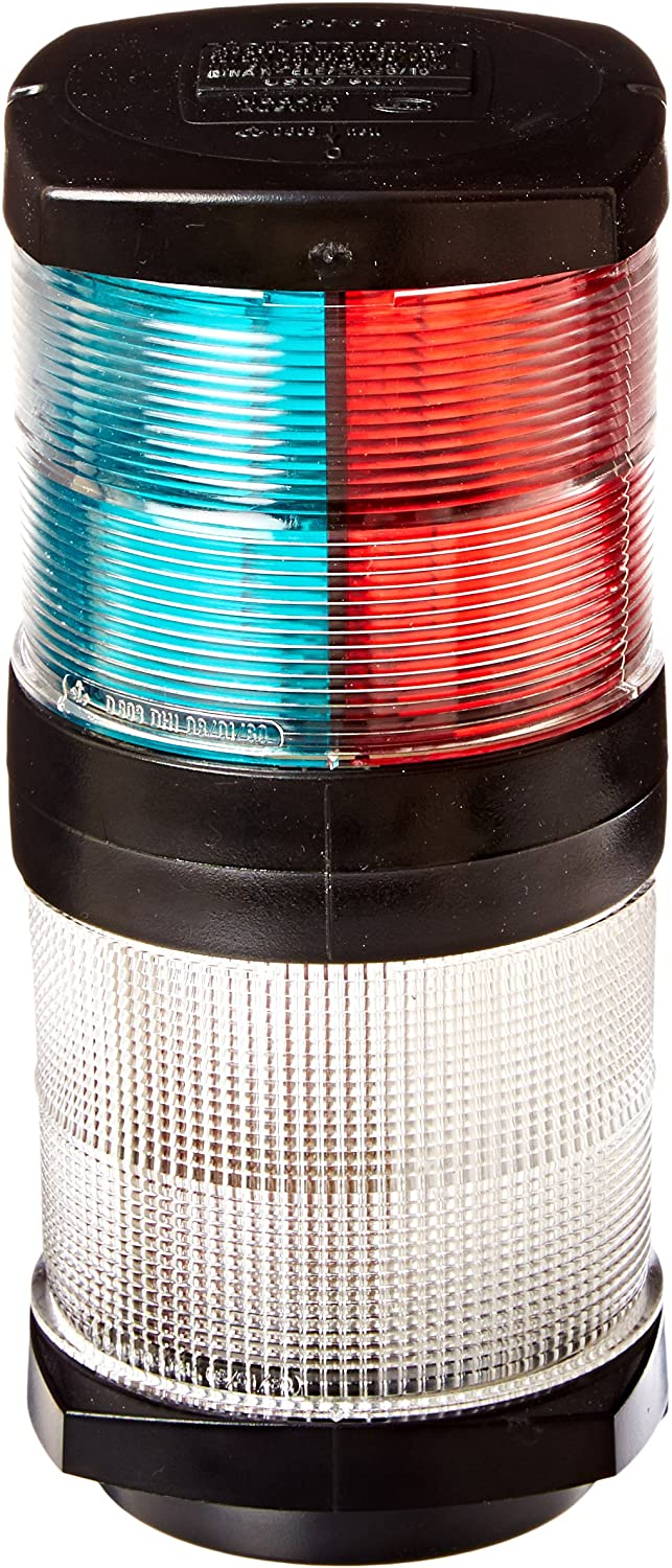 HELLA 002984601 '2984 Series' 12V DC 2 NM Tricolor Light with White AllRound Anchor Light and Black Housing