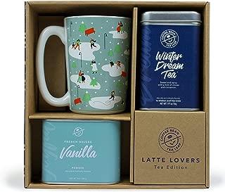 Coffee Bean & Tea Leaf Winter Dream Tea Gift Set (Includes 8oz French Deluxe Vanilla Powder, 16 ct Winter Dream Tin, 12 oz Holiday Festive Ceramic Mug)