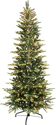 Puleo International 6.5 Foot Pre-Lit Slim Aspen Fir Artificial Christmas Tree with 350 UL-Listed Clear Lights