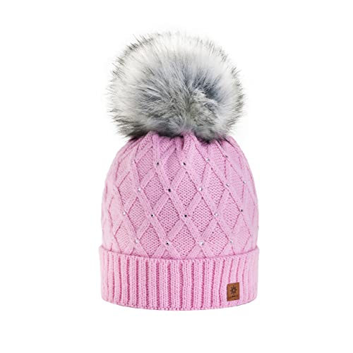 8e23756bd7c Women Girls Winter Beanie Hat Wool Knitted CRYSTAL with Large Pom Pom Cap  SKI Snowboard Hats