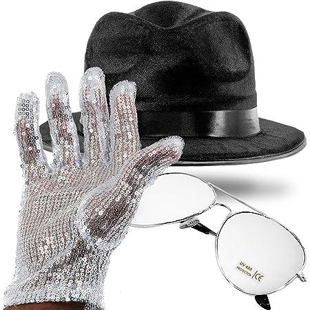 NEW MICHAEL JACKSON HAT SEQUIN GLOVE GLASSES DELUXE FANCY DRESS GANGSTER COSTUME