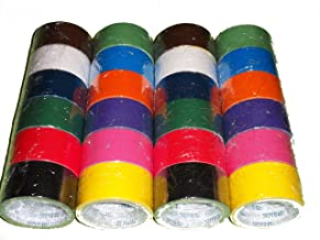 24 Roll Variety Pack Solid Colors (brights and regular colors) of All Purpose Duct Tape. Brights Include: green, blue, orange, purple, yellow and pink. Regular colors include: brown, white, black, gr