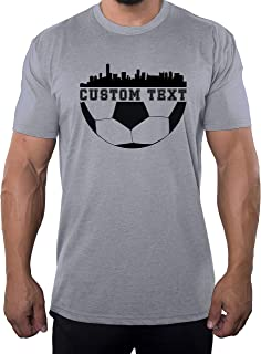 Custom Soccer T-Shirt with City Skyline Personalized Soccer t Shirts for Men