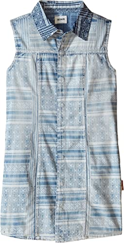Sleeveless Printed Chambray Top (Big Kids)
