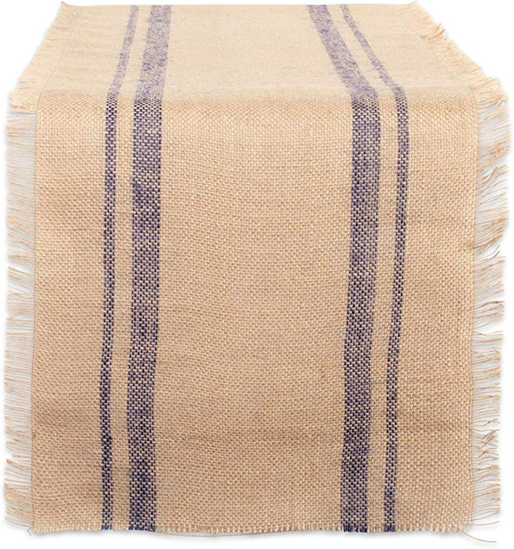 CC Home Furnishings 14 X 108 Brown And French Blue Double Border Burlap Table Runner