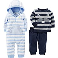 Baby Boys' 3-Piece Fleece Playwear Set - Fleece Hooded Jumpsuit, Pants, and Sweater