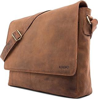 LEABAGS Oxford Umhängetasche Leder Laptoptasche 15 Zoll aus echtem Büffel-Leder im Vintage Look, LxBxH: ca. 38x10x31 cm - Braun As Fox