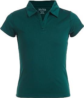 Nautica Girls Size' School Uniform Short Sleeve Performance Polo, Forest Green, 12-14 Plus