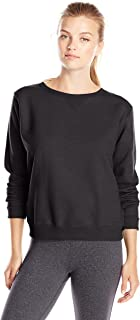 (Small, Ebony) - Hanes Women's V-Notch Pullover Fleece Sweatshirt