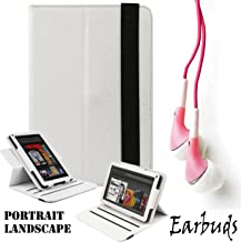 White Premium Limited Executive Portfolio Leather Cover Sleeve Carrying Case with Landscape and Portrait with Tilt Options for Kindle Fire Full Color 7 inch Multi Touch Display, Wi Fi and Earbuds