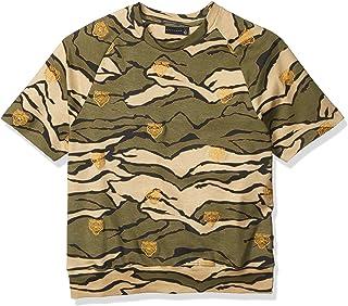 Sean John Men's Embrodiered Camo Short Sleeve Sweatshirt, Tiger