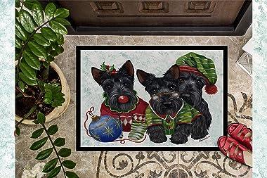 Caroline's Treasures Scottish Terrier Christmas Elves Door Mat doormats, Multicolor